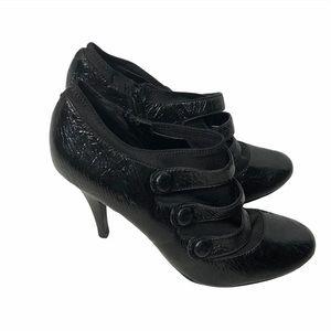BCBG Black Leather Heeled Booties